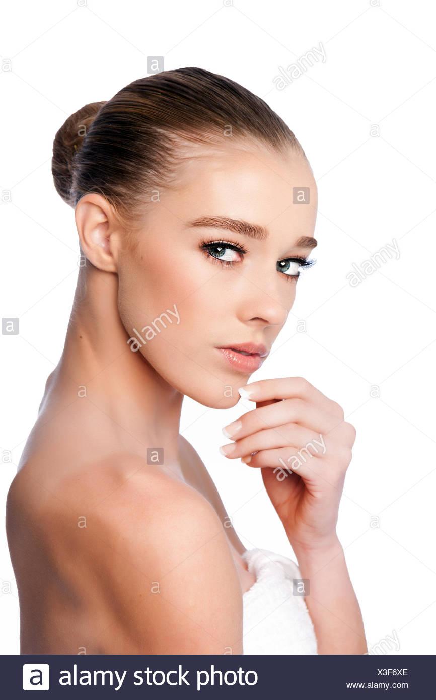 Bellezza viso femminile Immagini Stock