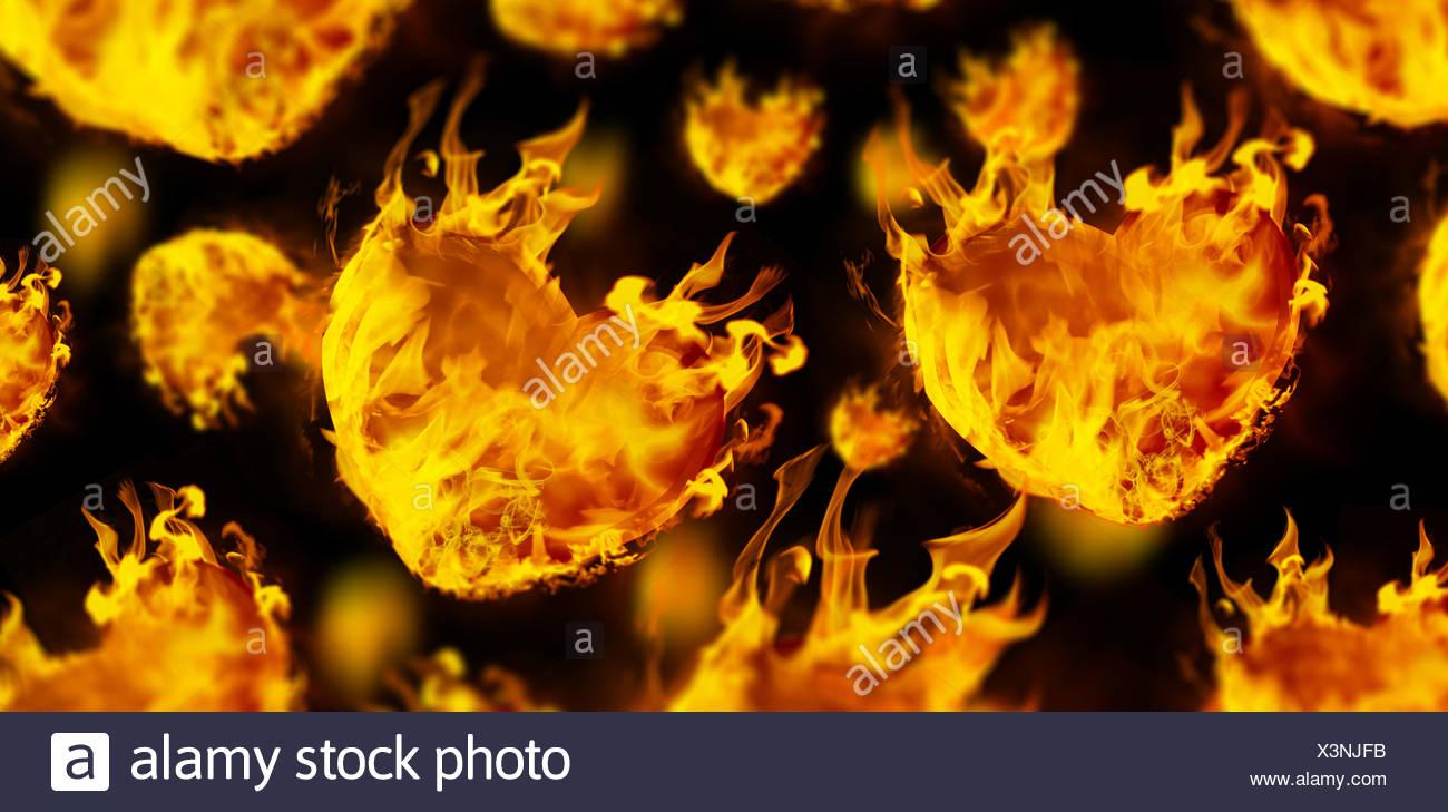 Immagine composita del cuore forme sul fuoco Immagini Stock