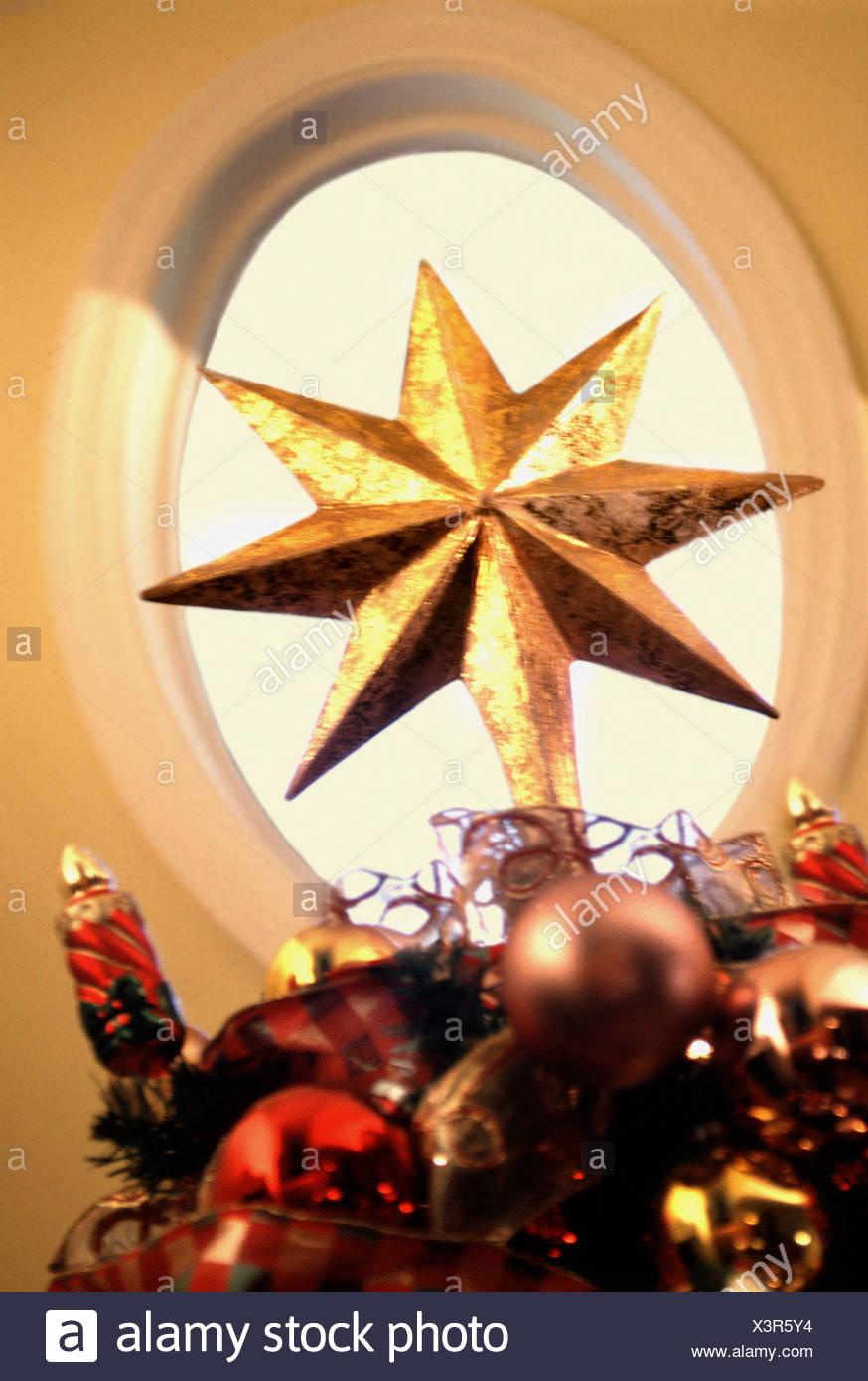 Oro ornamento di Natale Immagini Stock