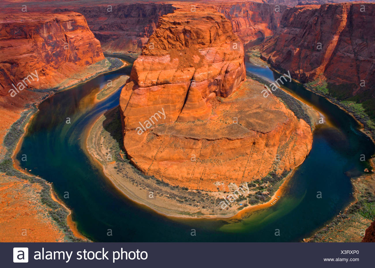 Curva a ferro di cavallo al Glen Canyon National Recreation Area dal di sopra, USA, Arizona, pagina Immagini Stock