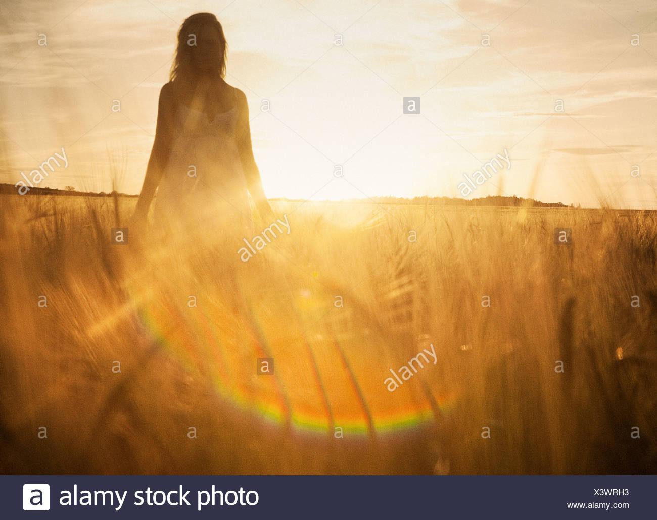 Giovane donna nel campo di orzo Immagini Stock