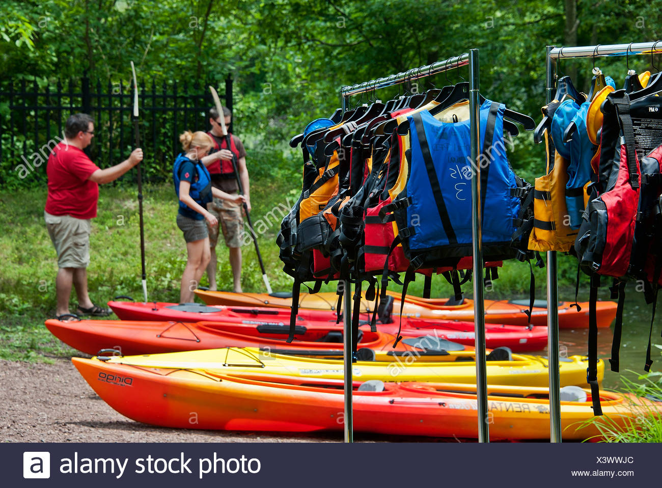Noleggio kayak istruzione, smithville, new jersey Immagini Stock