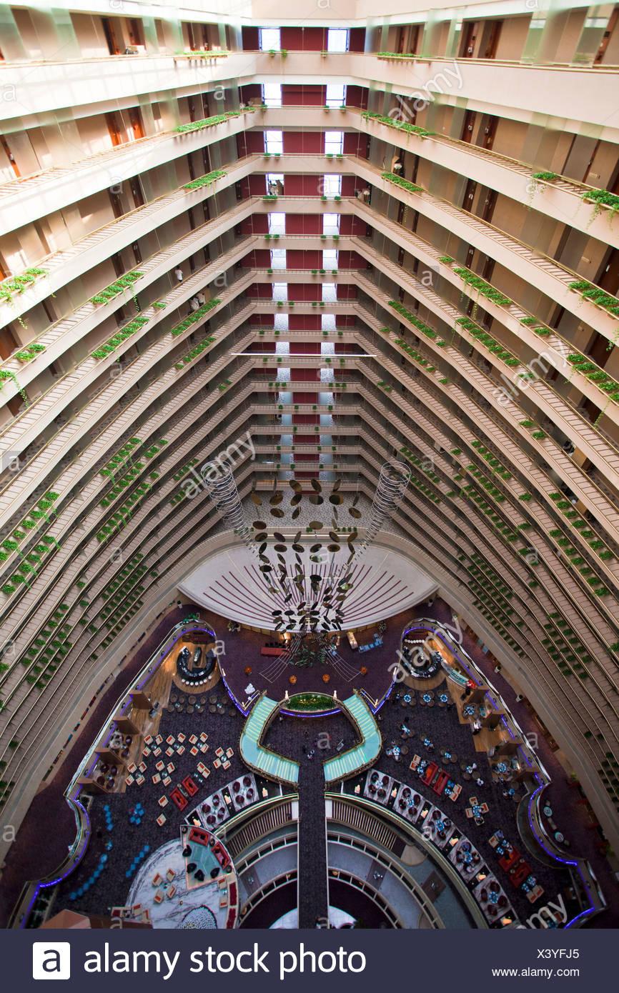 Singapore, Asia, Pan Pacific Hotel, lobby, hall, Halle, look, vista da sopra, pavimenti, solai, all'interno, in prospettiva Immagini Stock