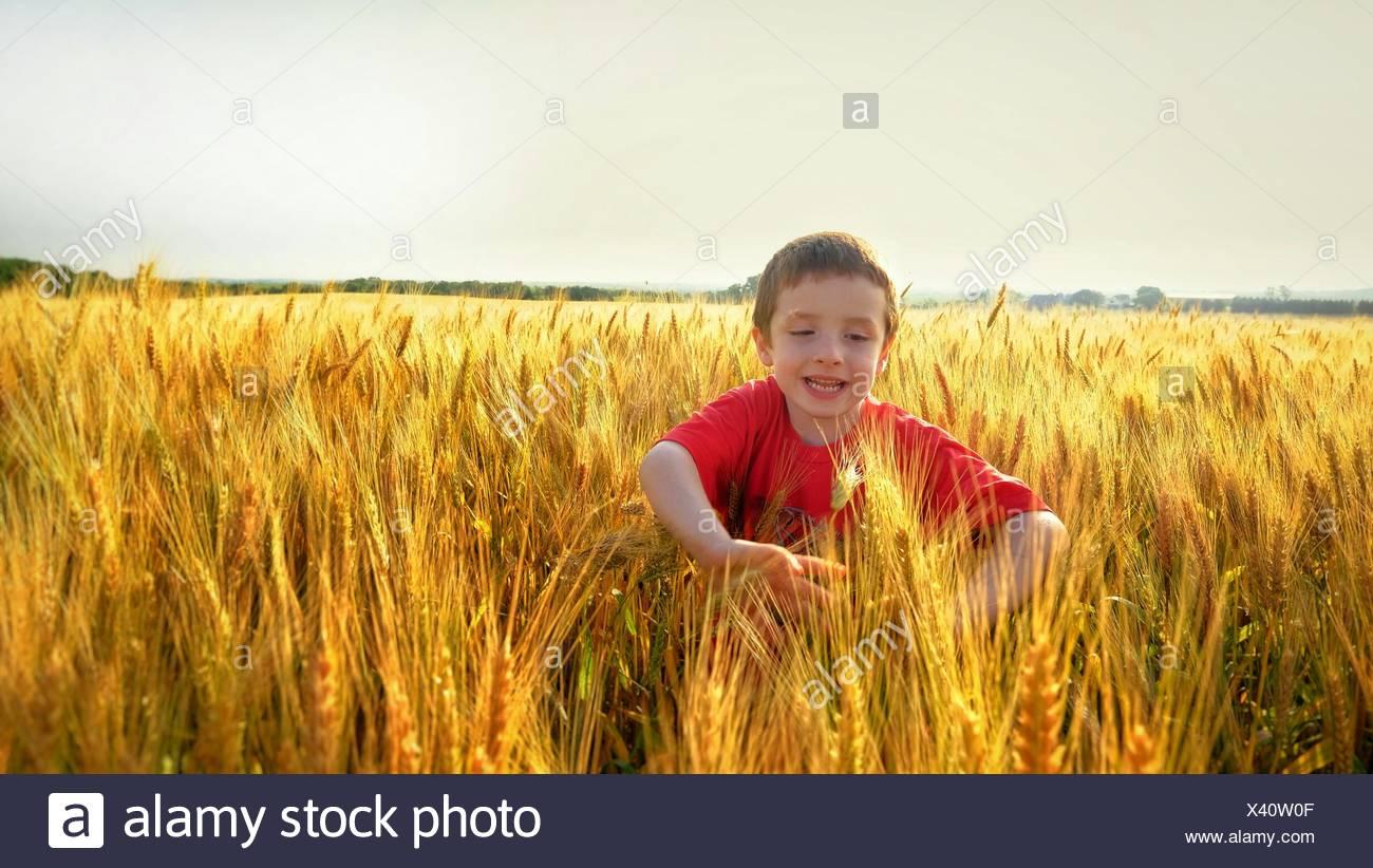 Ragazzo giocando nel campo di raccolto contro il cielo chiaro Immagini Stock