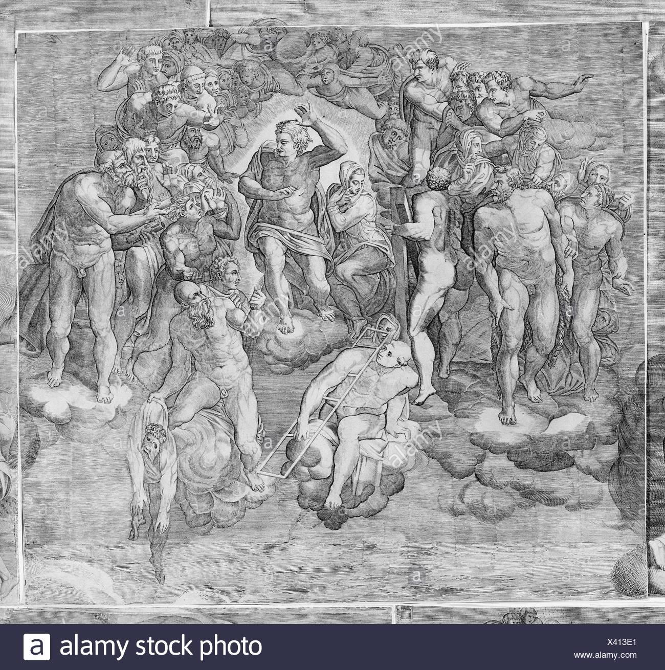 Cristo Giudice circondata dai santi (superiore sezione centrale dell'ultima sentenza). Artista: incisi da Niccolò della Casa (francese, Active Italia, ca. Immagini Stock