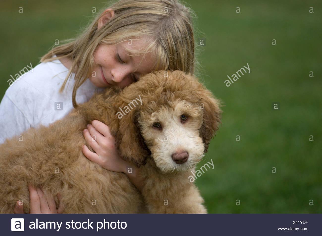 Una giovane ragazza trattiene il suo animale domestico fancy doodle cucciolo. Foto Stock