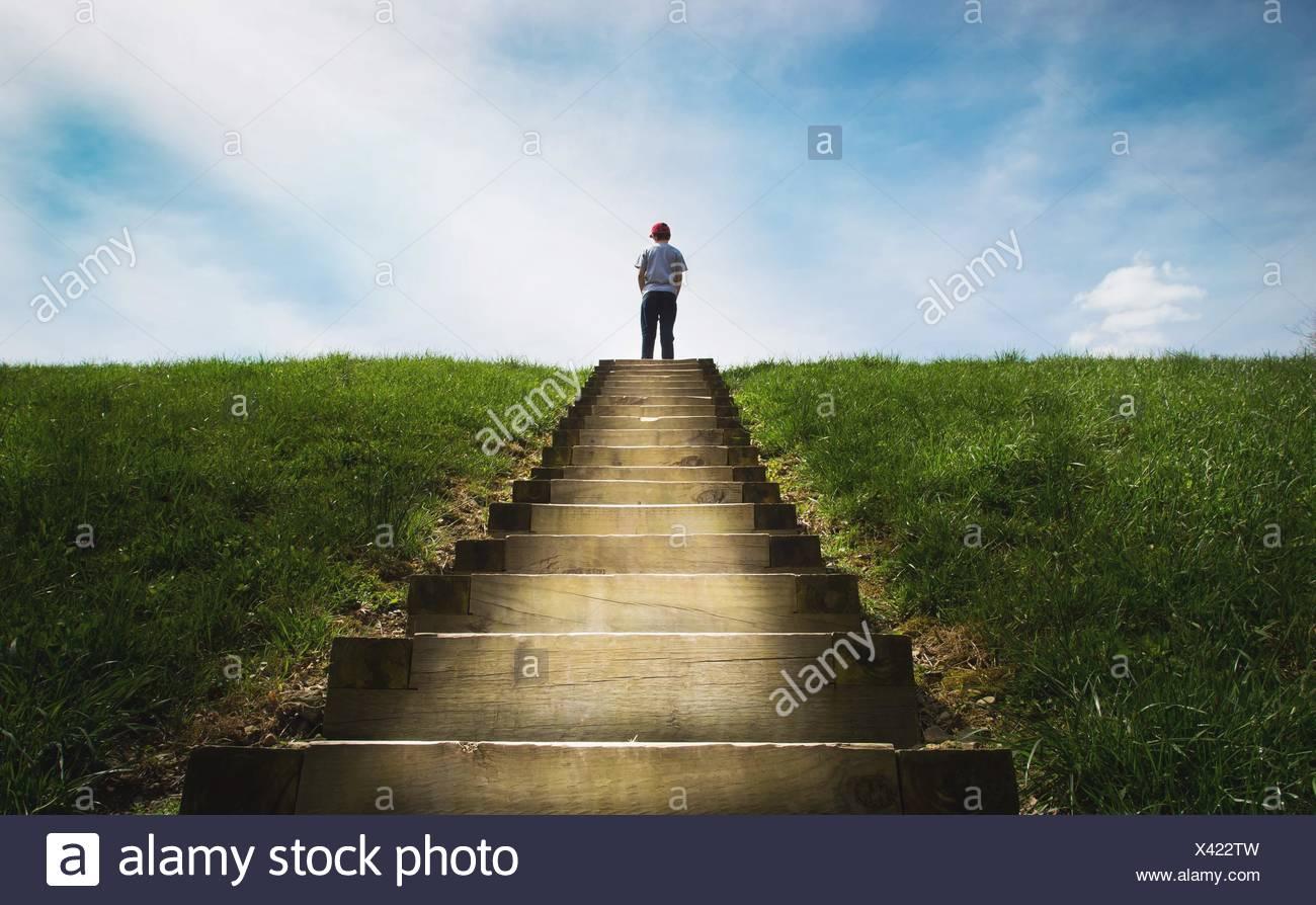 Ragazzo in piedi sui gradini Immagini Stock