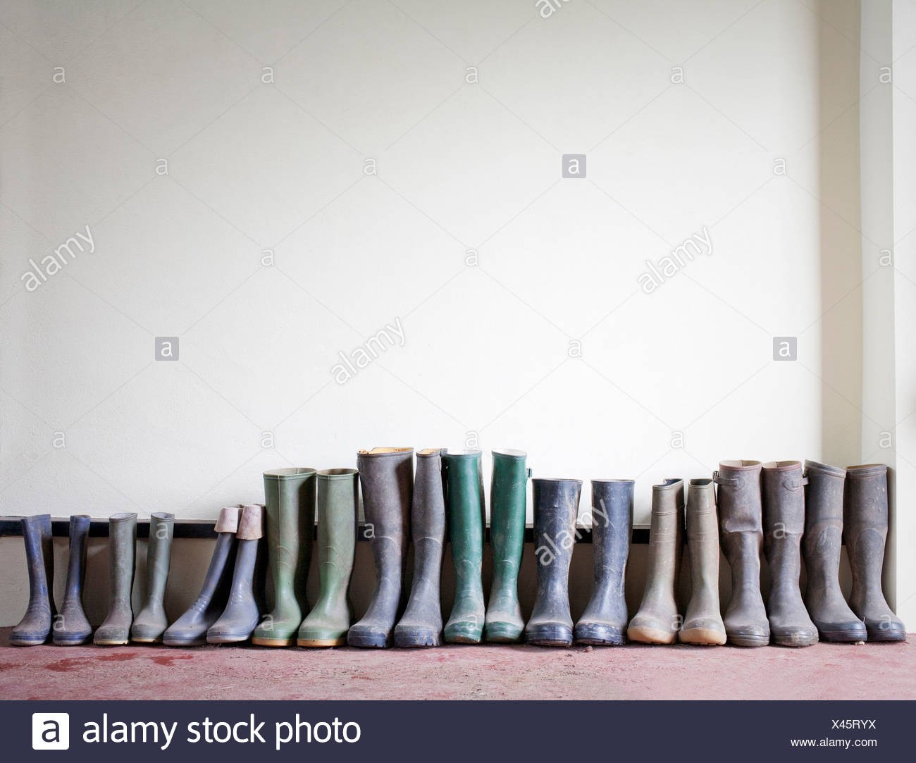 Stivali di gomma in una riga Immagini Stock