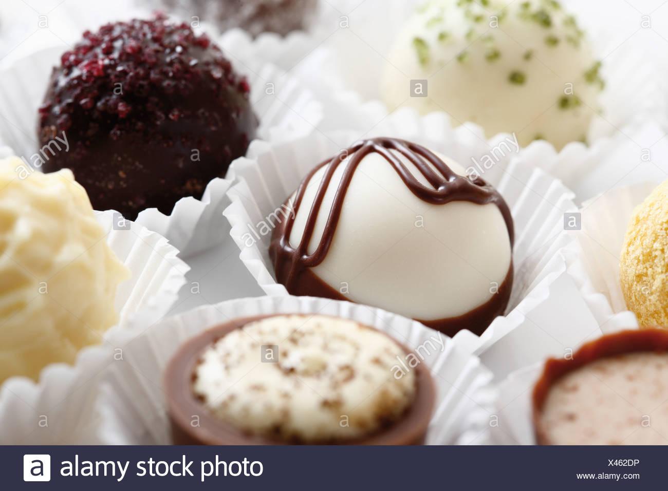 Varietà di cioccolatini, close up Immagini Stock