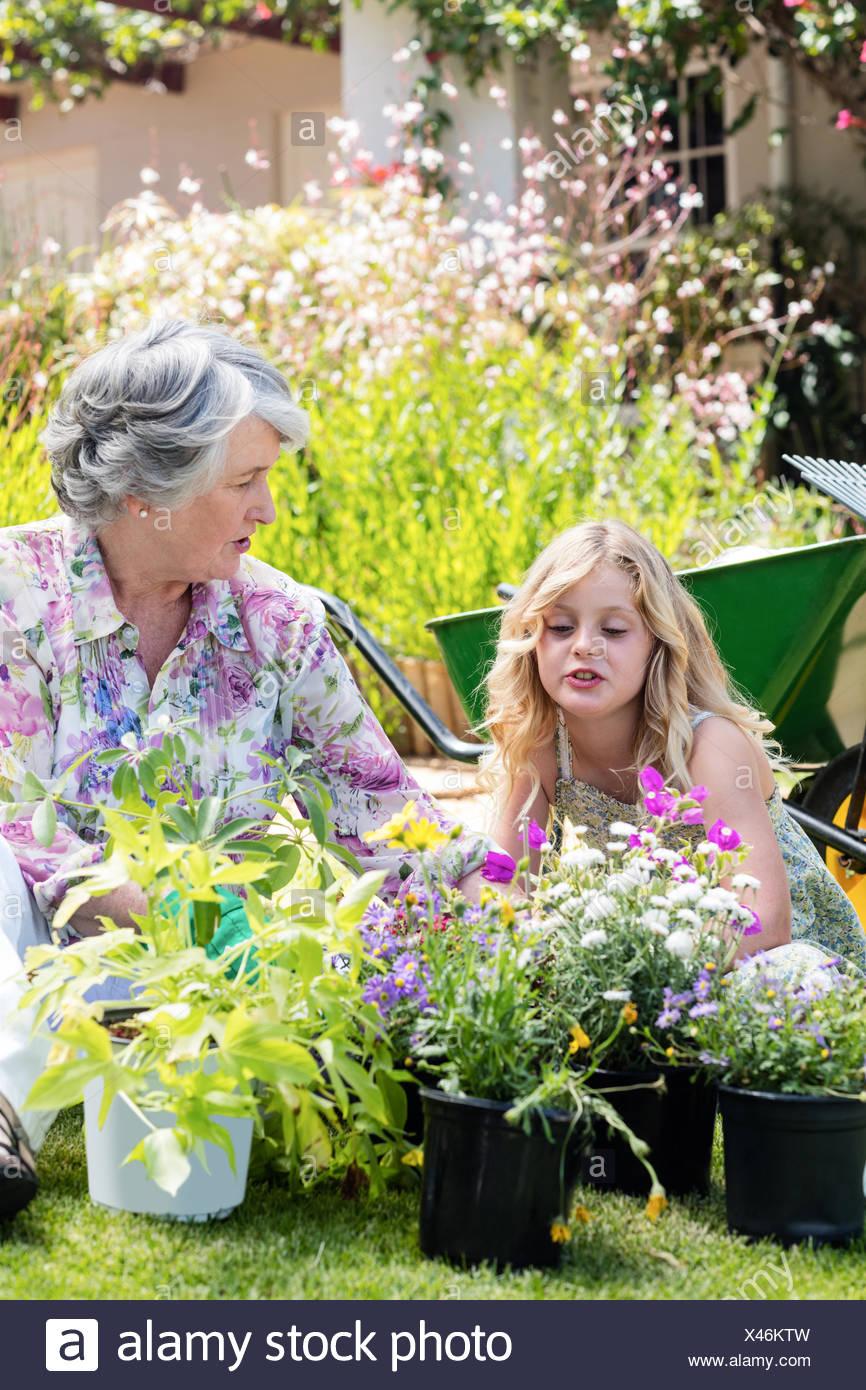 Nonna e nipote del giardinaggio insieme Immagini Stock
