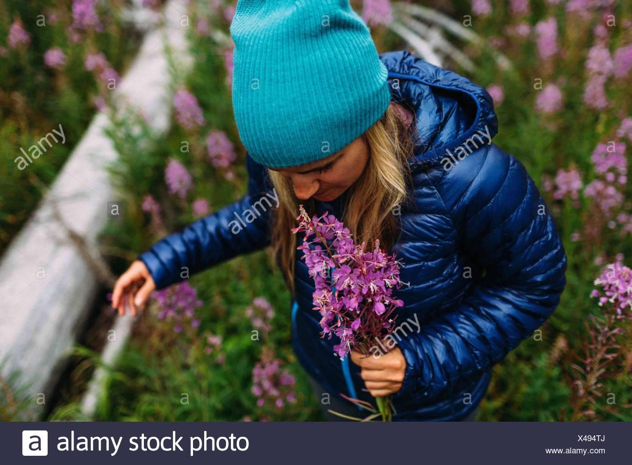 Elevato angolo visuale a metà donna adulta indossando rivestimento imbottito knit hat holding fiori selvatici Moraine Lake il Parco Nazionale di Banff Alberta Canada Immagini Stock
