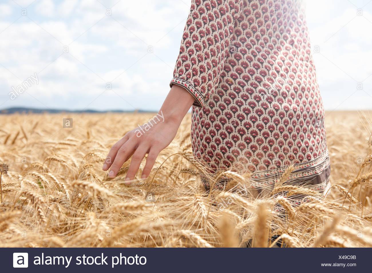 La sezione centrale della donna nel campo di grano Immagini Stock