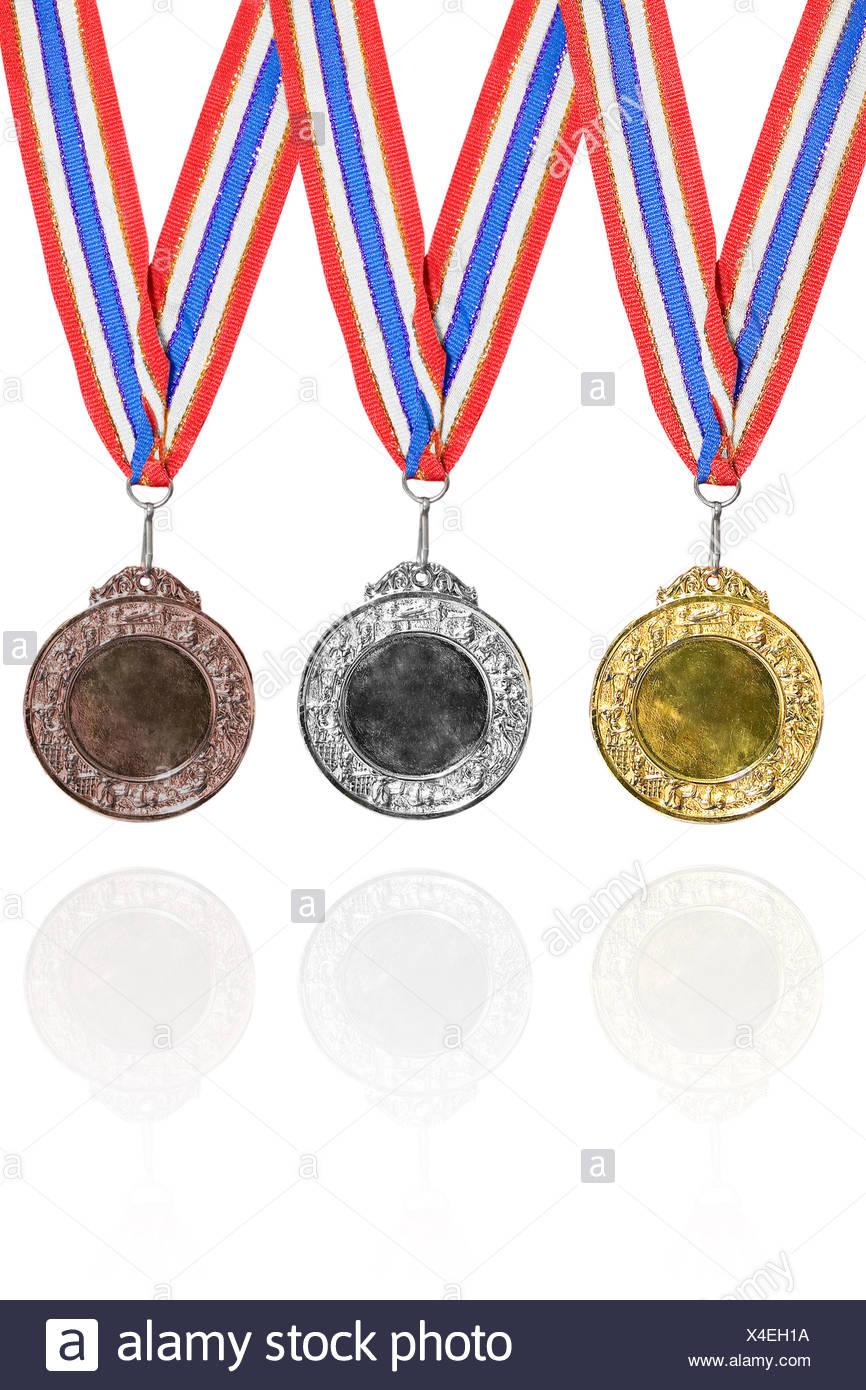 L'oro, l'argento e la medaglia di bronzo Immagini Stock