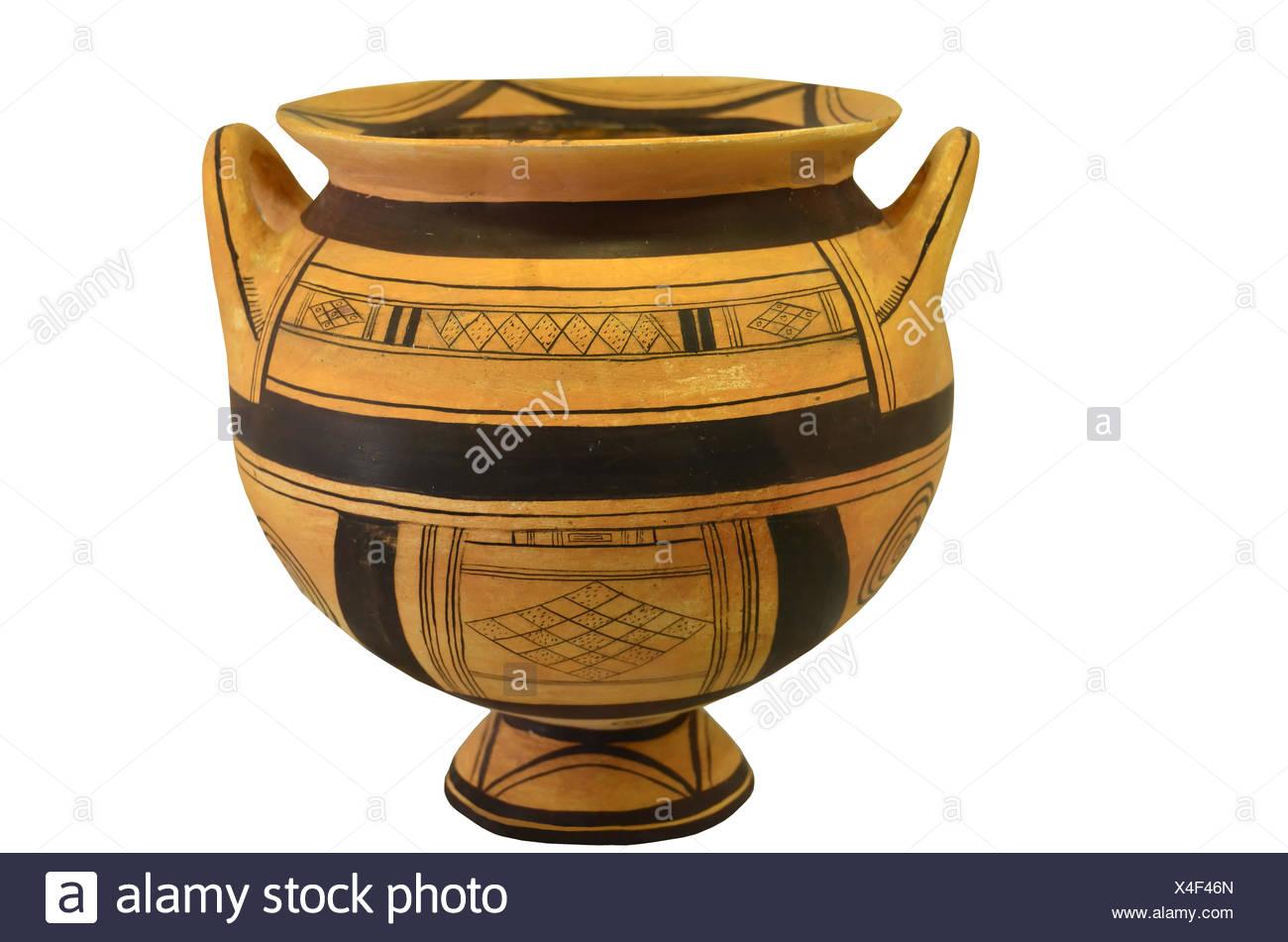 Un Antico Vaso Greco Dal Periodo Geometrico Isolamento Contro Uno