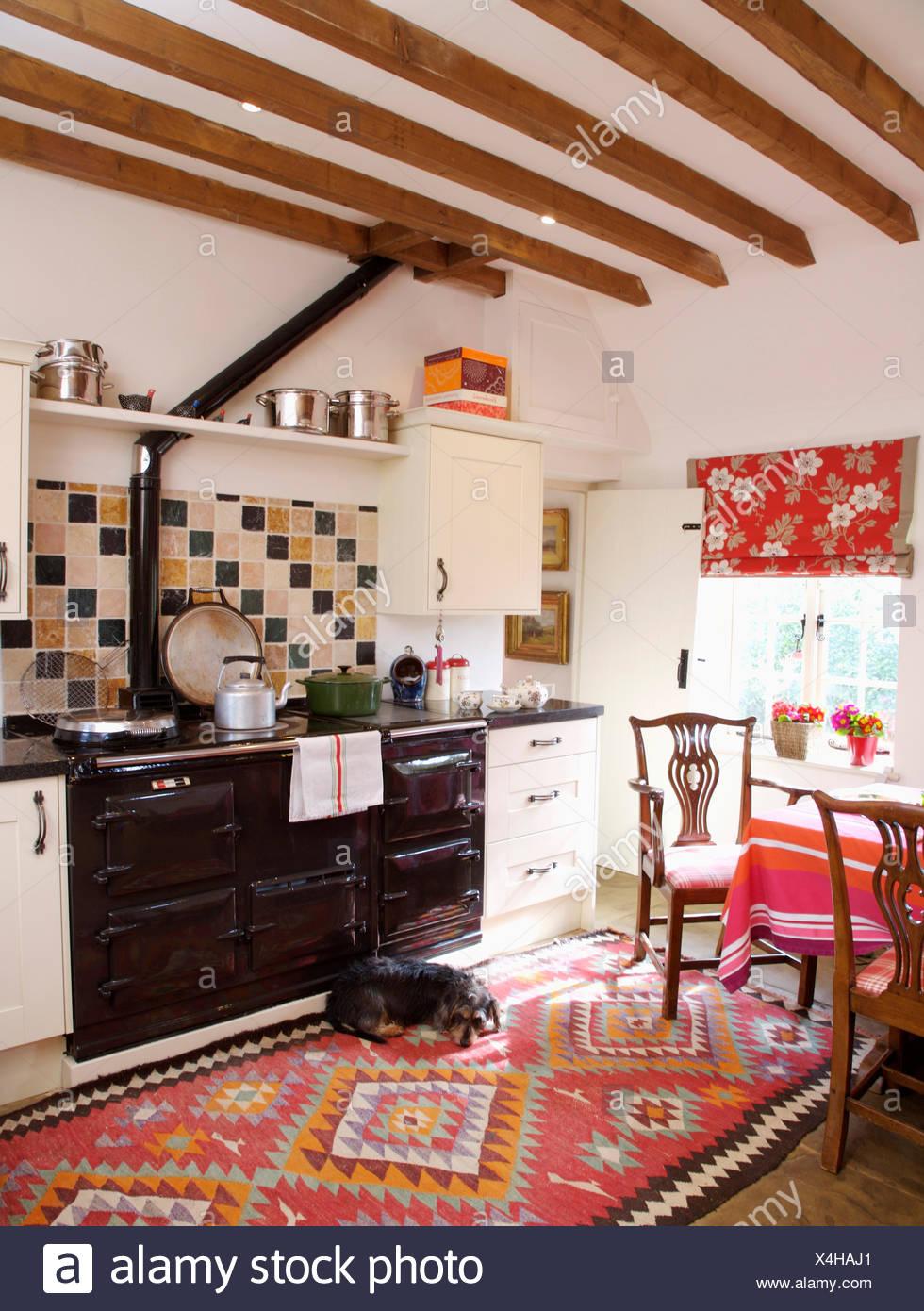 Paese di travi di cucina con piccolo cane giacente sulla ...