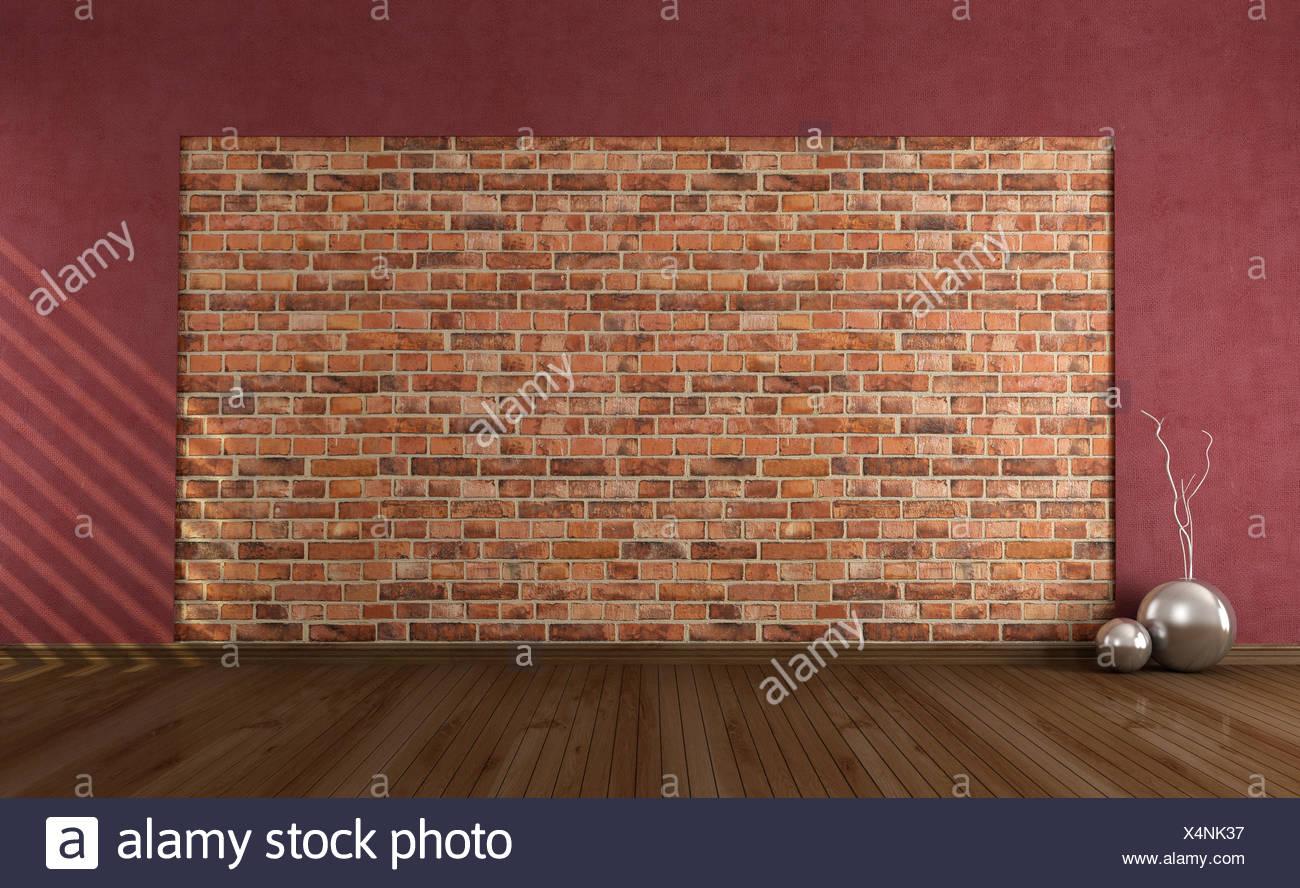 Camera interno vintage la parete in mattoni rosso salotto