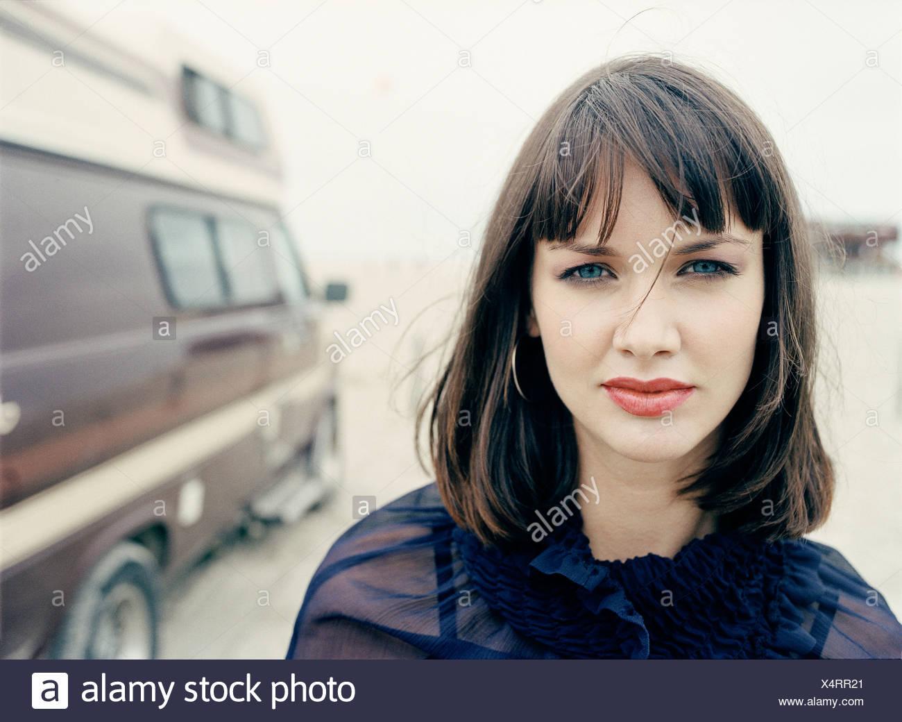 La donna da van, ritratto Immagini Stock