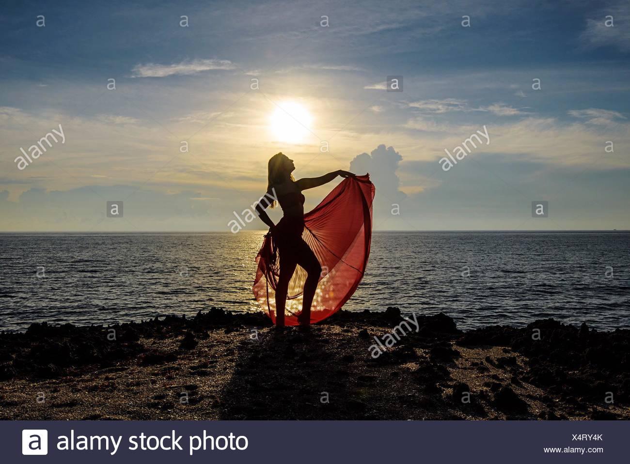 Donna in piedi sulla scogliera dal mare contro il cielo durante il tramonto Immagini Stock