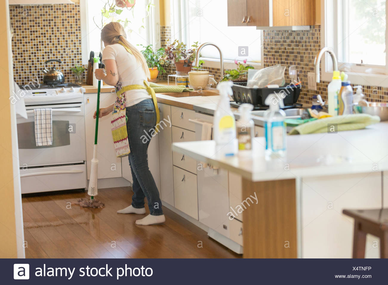 Giovane donna con straccio verde con i prodotti per la pulizia Immagini Stock