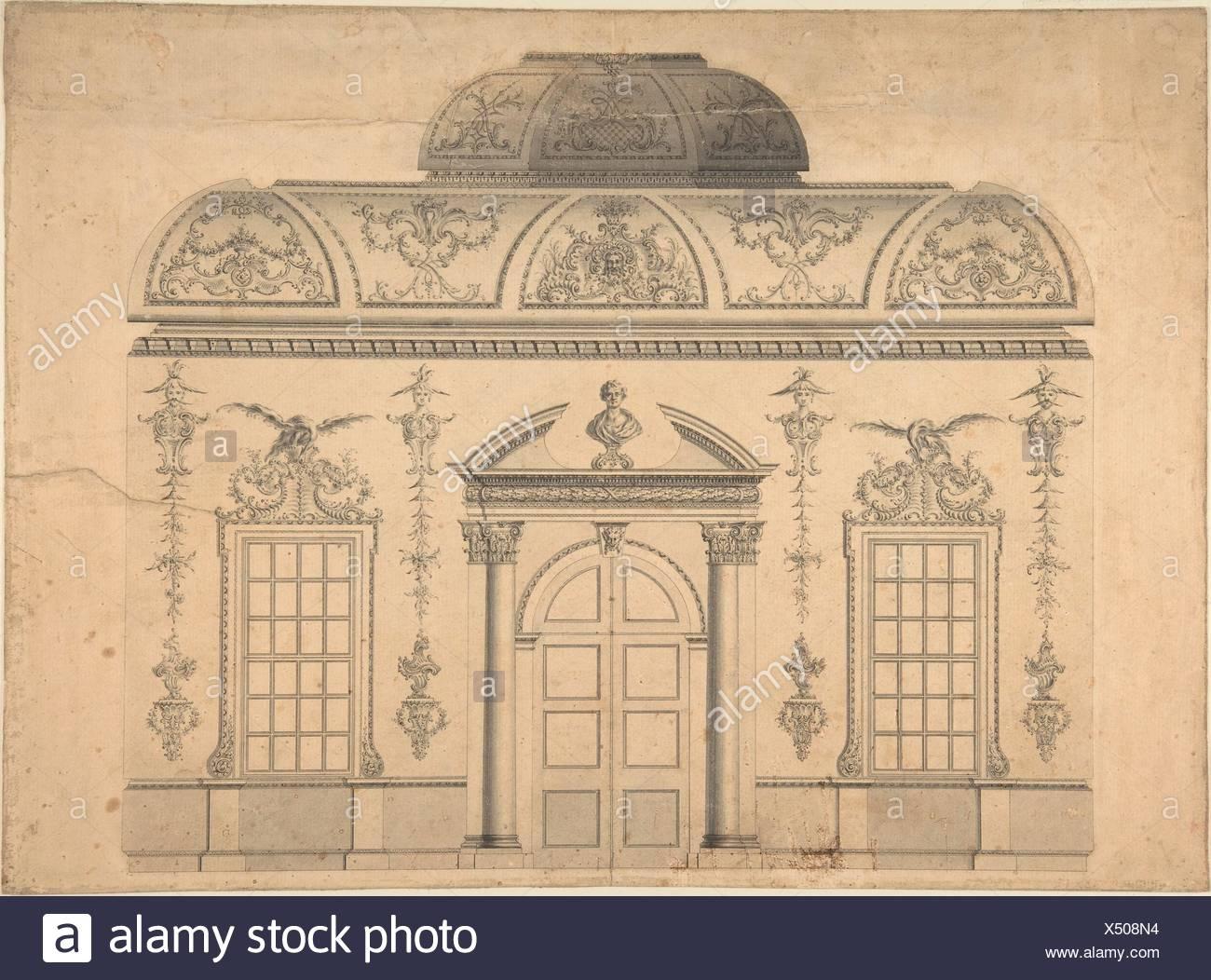 Design per la decorazione della finestra porta la parete di una camera in stile rococò con un soffitto coperte e coperte centrale di ritaglio (sezione). Artista: attribuito a Immagini Stock