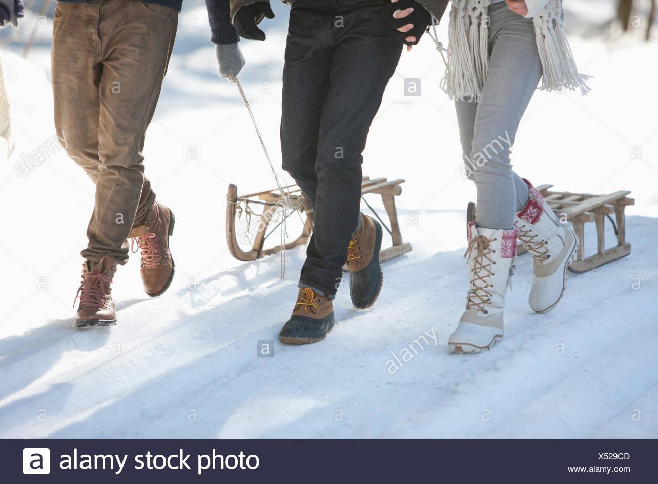 Tre persone con slitta nel paesaggio innevato, sezione bassa Immagini Stock