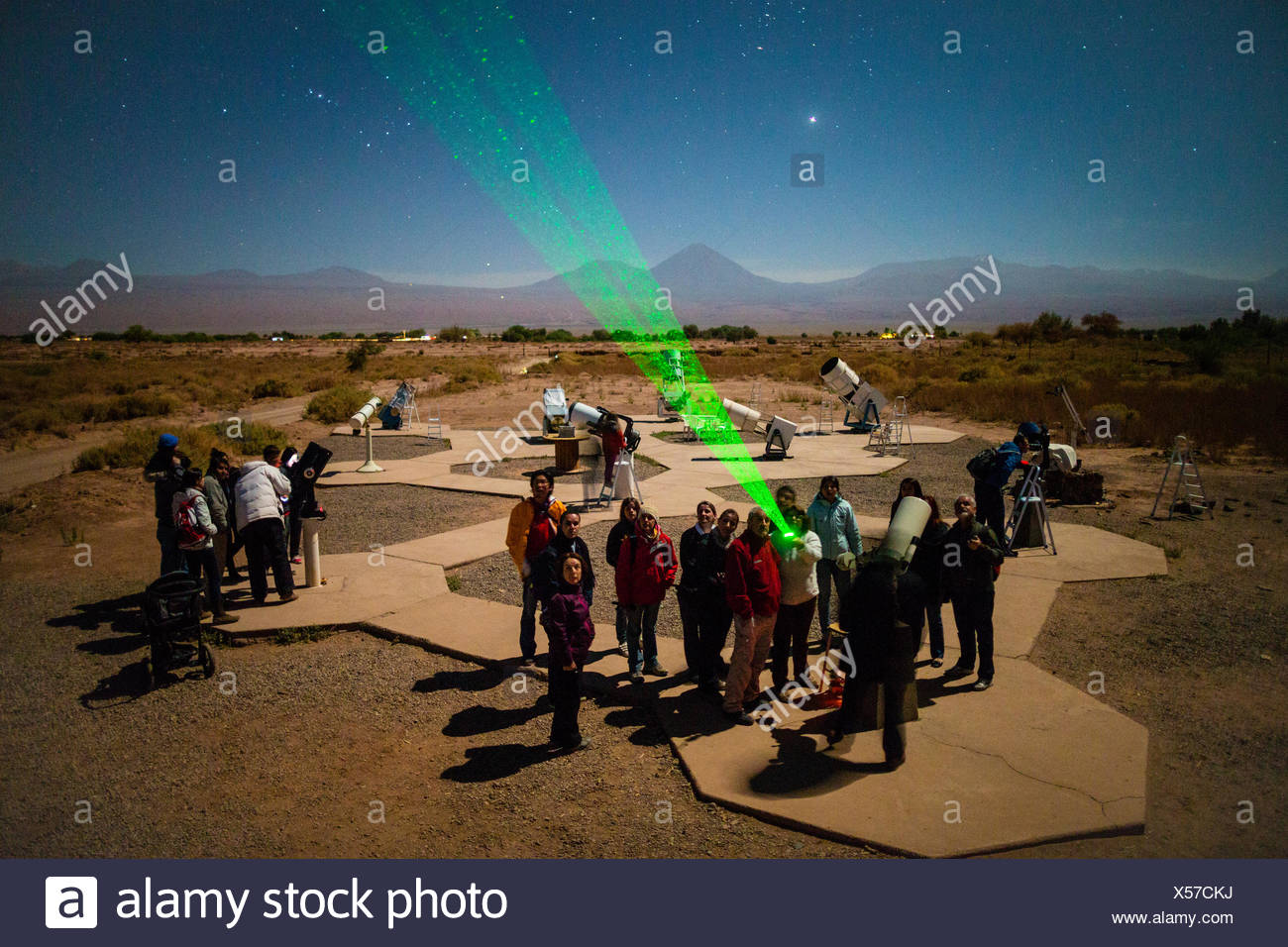 I turisti partecipare a una lezione di astronomia e osservazione al di fuori di San Pedro de Atacama, Cile. Immagini Stock