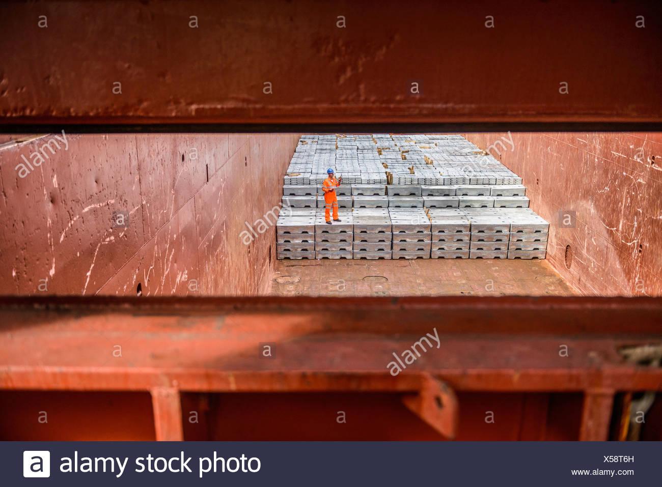 Controllo lavoratore lingotti di metallo delle stive delle navi Immagini Stock