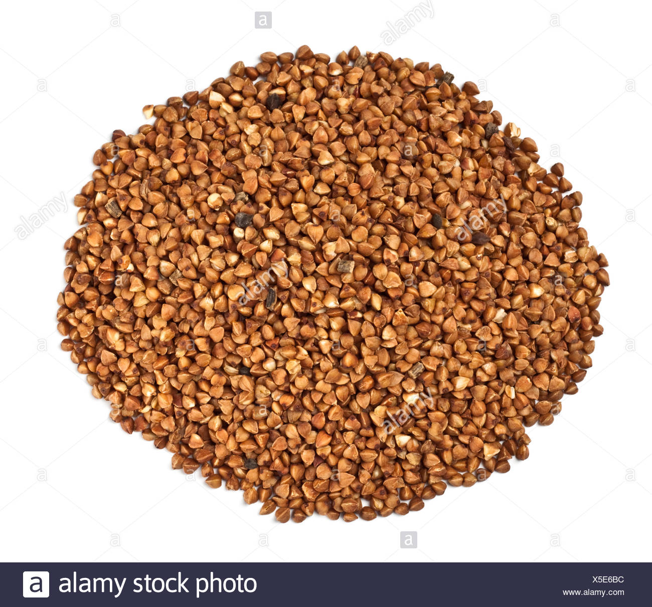 Una manciata di farina di grano saraceno Immagini Stock
