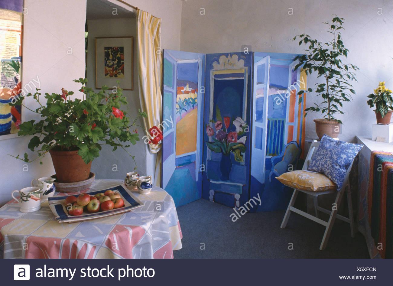 Piccola Sala Da Pranzo : Dipinto di blu dufy stile decorativo schermata piegatura nella