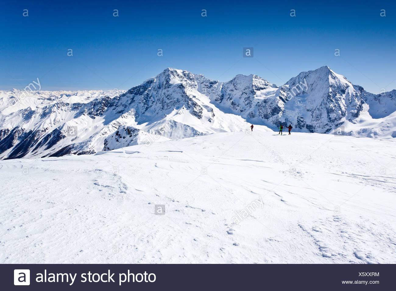 Ski tourer scendendo Mt Punta Beltovo di Dentro, Solda, Solda, in inverno, Gran Zebrù, Mt Ortles e il Monte Zebru nella parte posteriore Immagini Stock