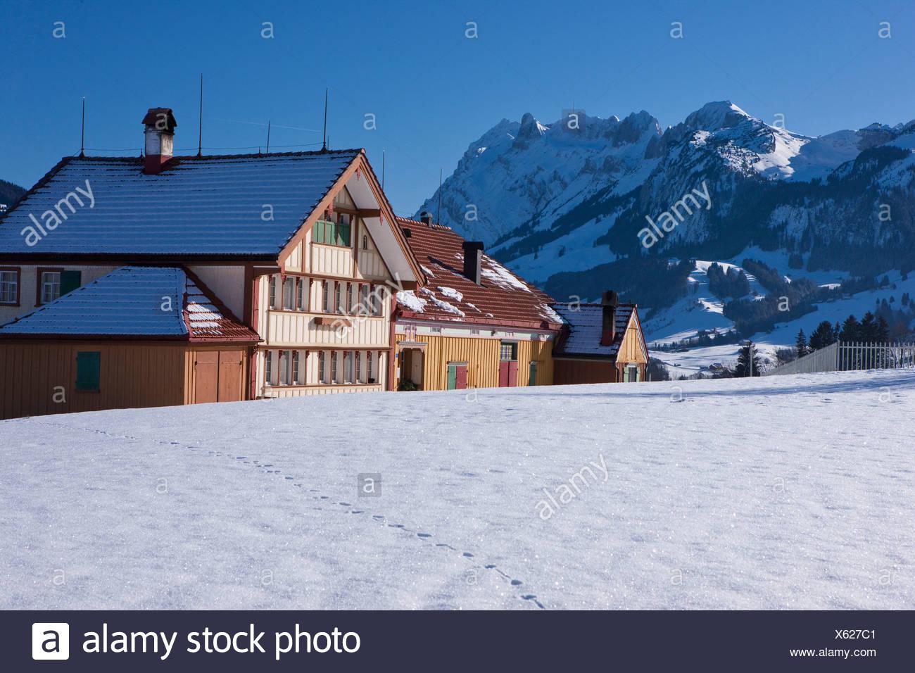 Agriturismo, Säntis, inverno, montagna, montagne, agricoltura, cantone di Appenzell, Innerroden, area di Appenzell, Alpstein, Svizzera e UE Immagini Stock