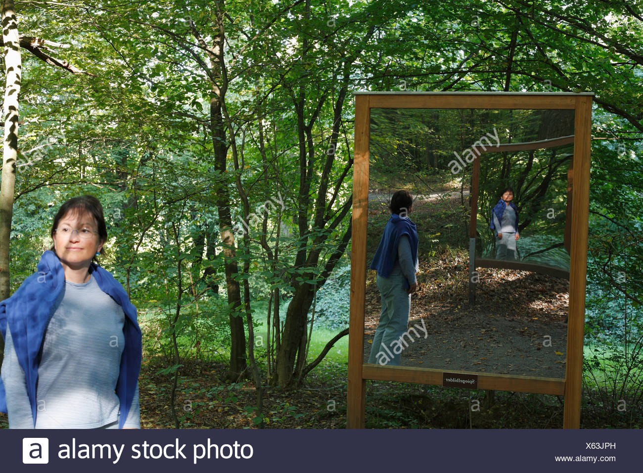 Le immagini mirror Weg der Besinnung (titolo di riflessi), Bad Kissingen, Rhoen, Franconia, Germania Immagini Stock