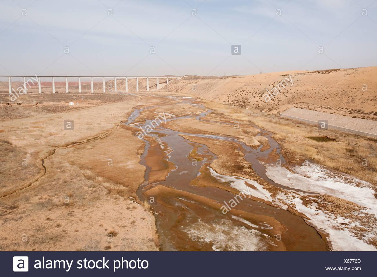 Basso livello dell'acqua nella provincia dello Shanxi cina causati dal cambiamento climatico Immagini Stock