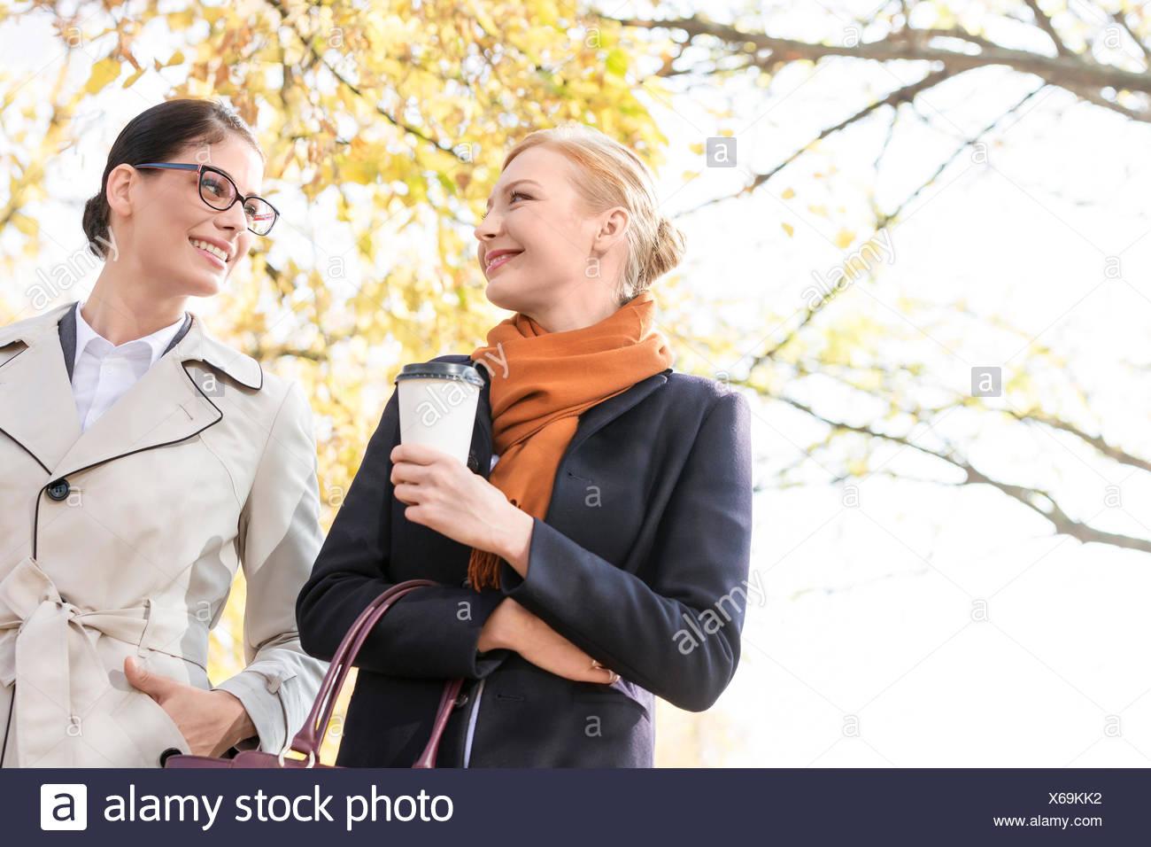 Basso angolo di vista sorridente imprenditrici a conversare in posizione di parcheggio Immagini Stock