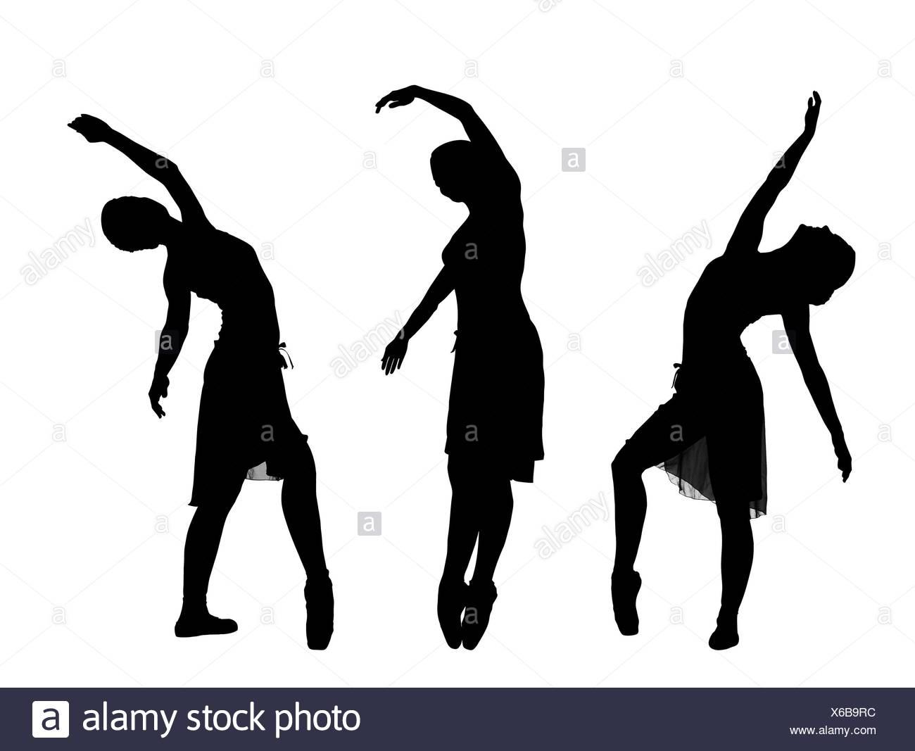 Silhouette,ballerina Immagini Stock