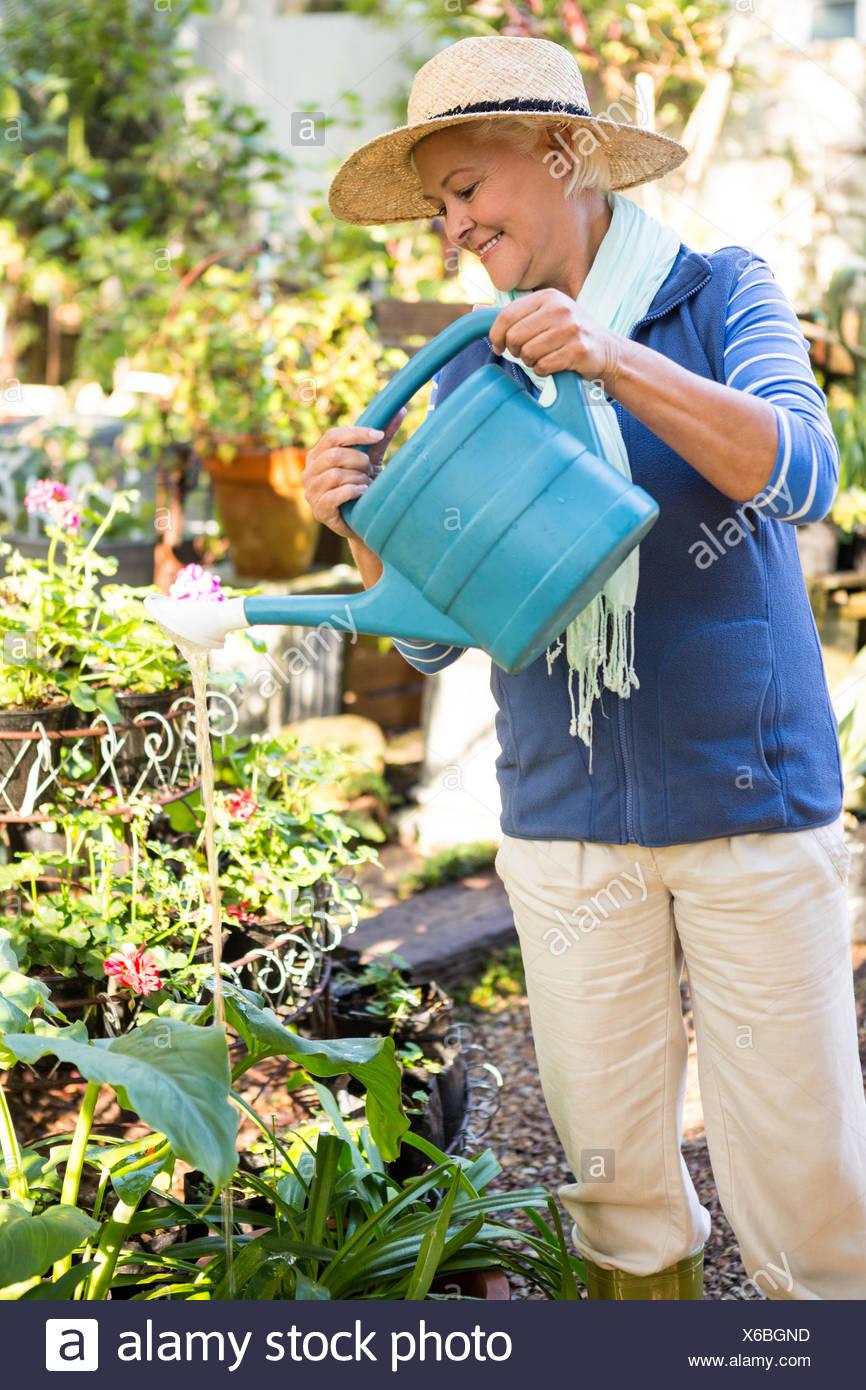 Giardiniere felice la spruzzatura di acqua su piante in giardino Immagini Stock
