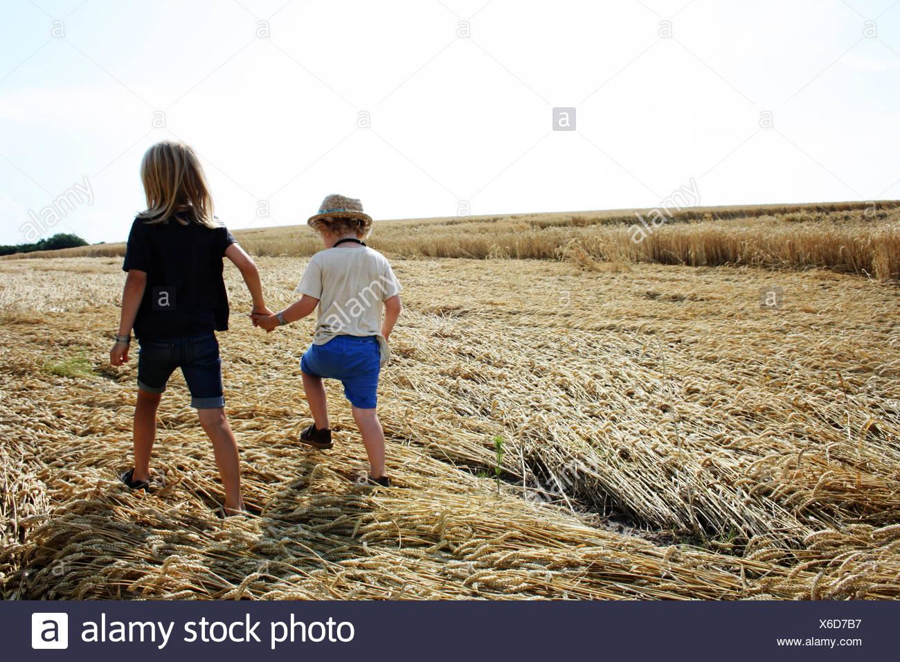 Vista posteriore di due ragazzi tenendo le mani facendo una passeggiata Immagini Stock