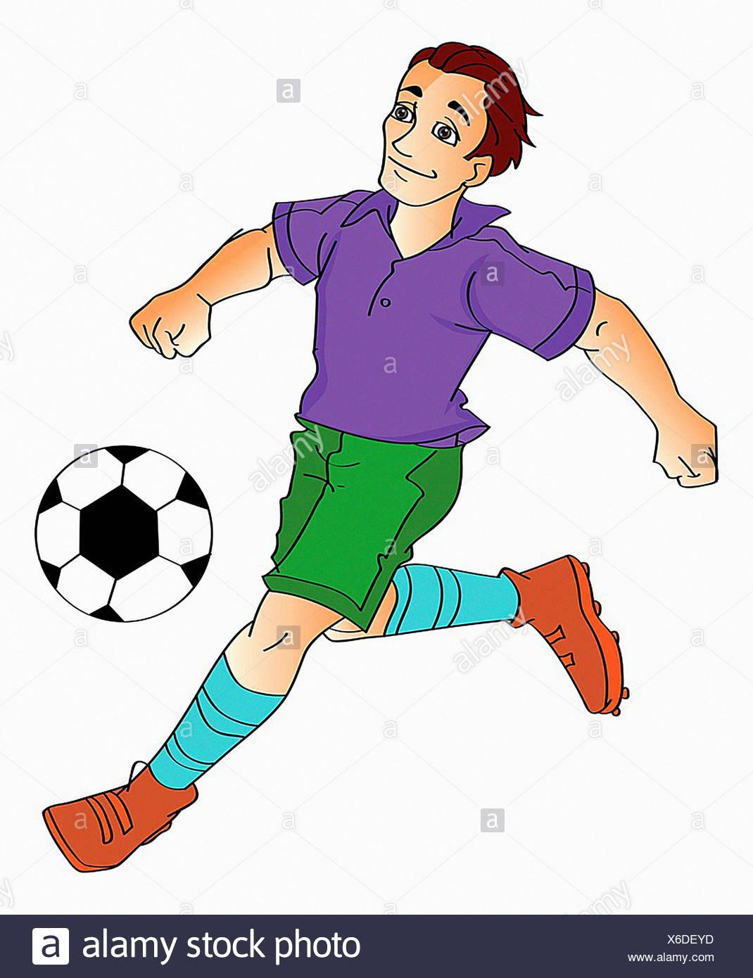 Giovane uomo che giocano a calcio, illustrazione vettoriale Immagini Stock