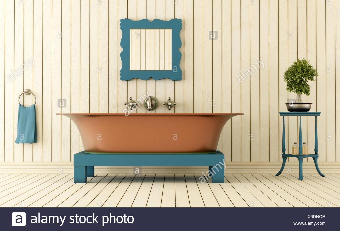 Legno interno vintage rame vasca da bagno vasca doccia