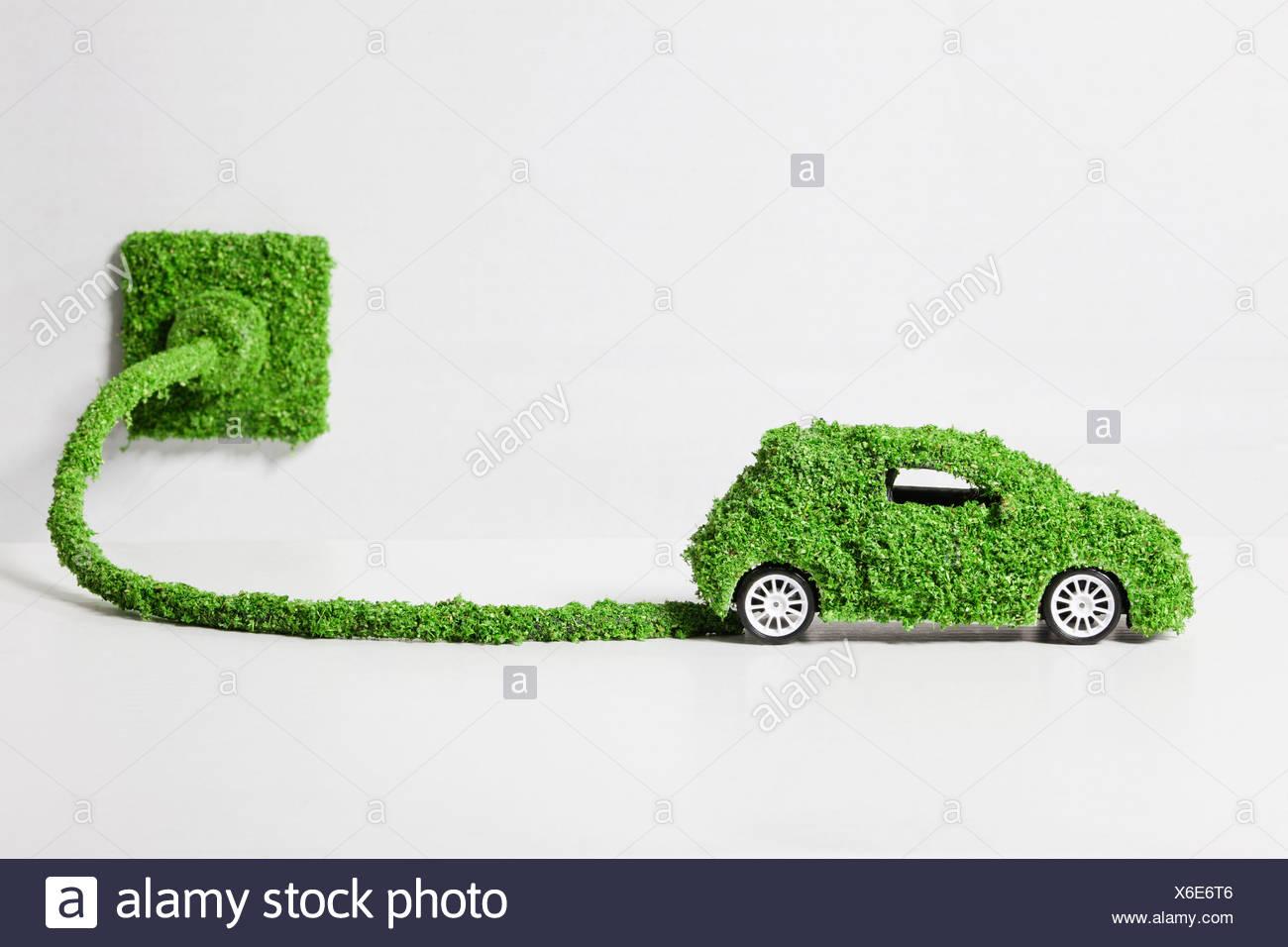 Auto elettrica ricoperte di erba collegato alla presa, close up Immagini Stock