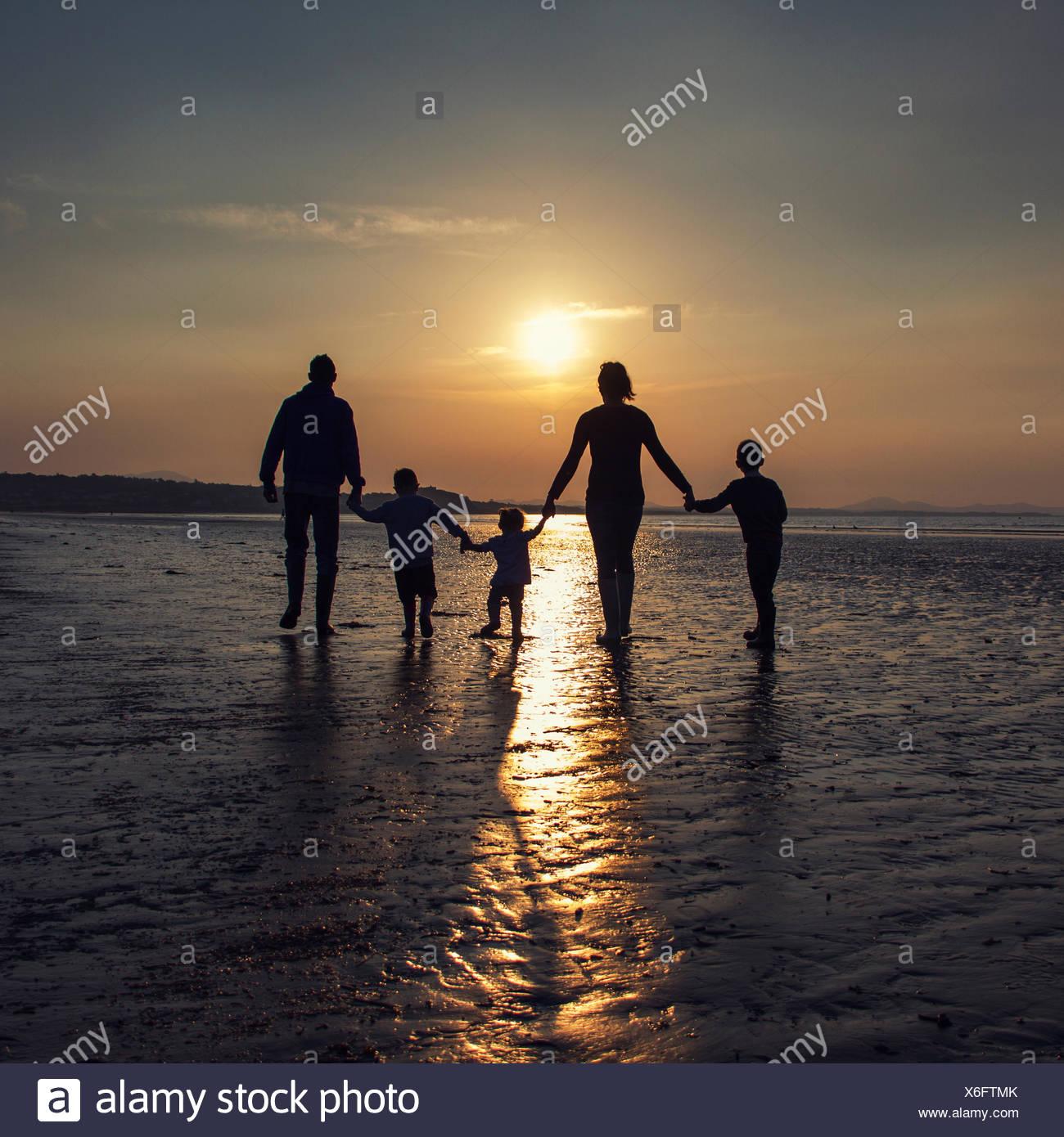 Silhouette di una famiglia sulla spiaggia tenendo le mani Immagini Stock