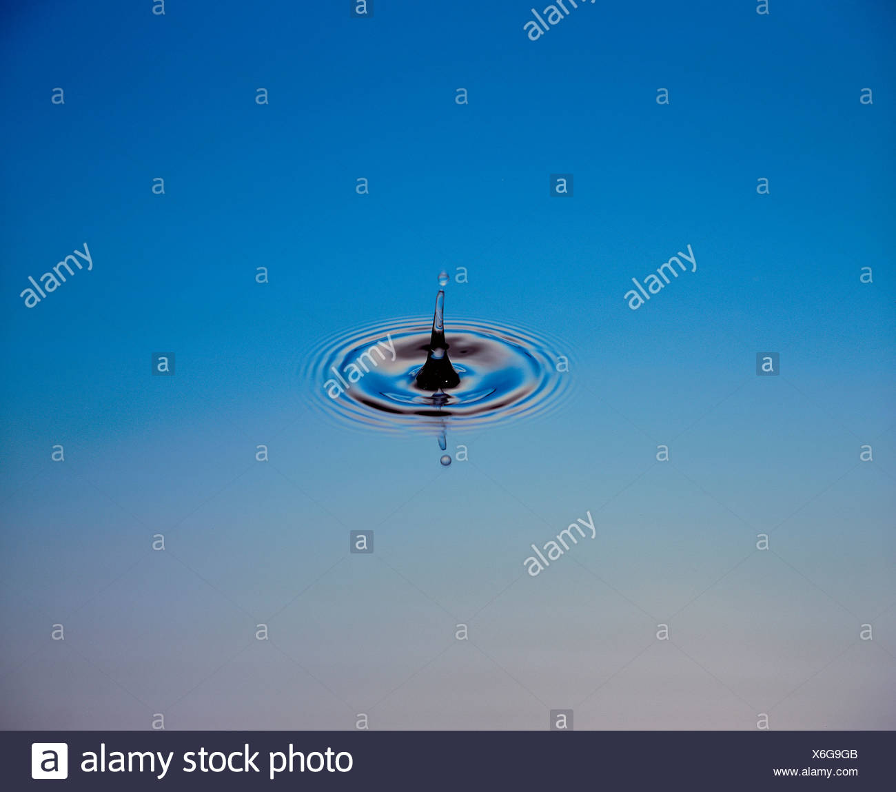 Acqua gli anelli di caduta di gocce di acqua cerchi anelli di nervature a livello delle forme d'onda Immagini Stock