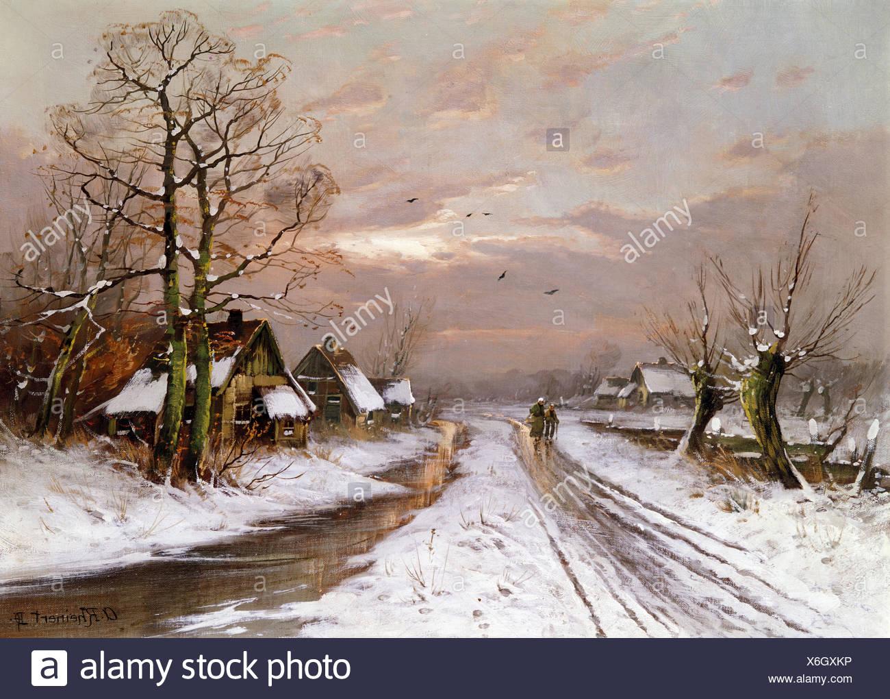 """Belle arti, Rheinert, Adolf (1880 - 1958), verniciatura, 'Paesaggio invernale"""", Wimmer Gallery, Monaco di Baviera, artista del copyright deve anche essere cancellato Immagini Stock"""