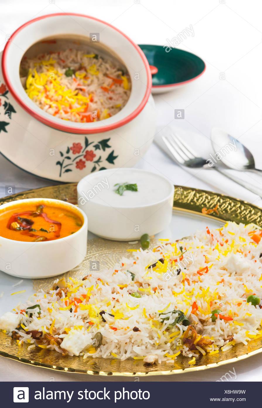 Speciale Biryani Hyderabad servita in una piastra Immagini Stock