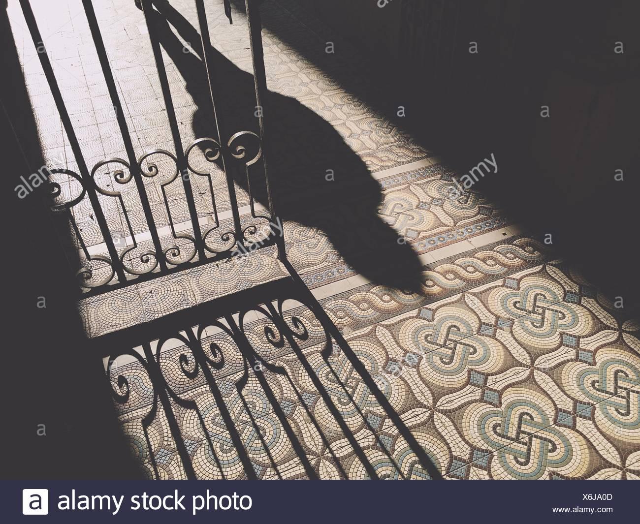 Ombra di persona sul pavimento Immagini Stock