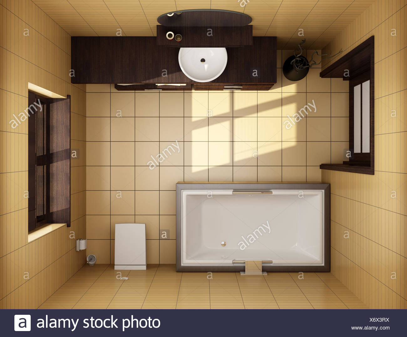 Stile giapponese bagno con piastrelle marrone vista superiore