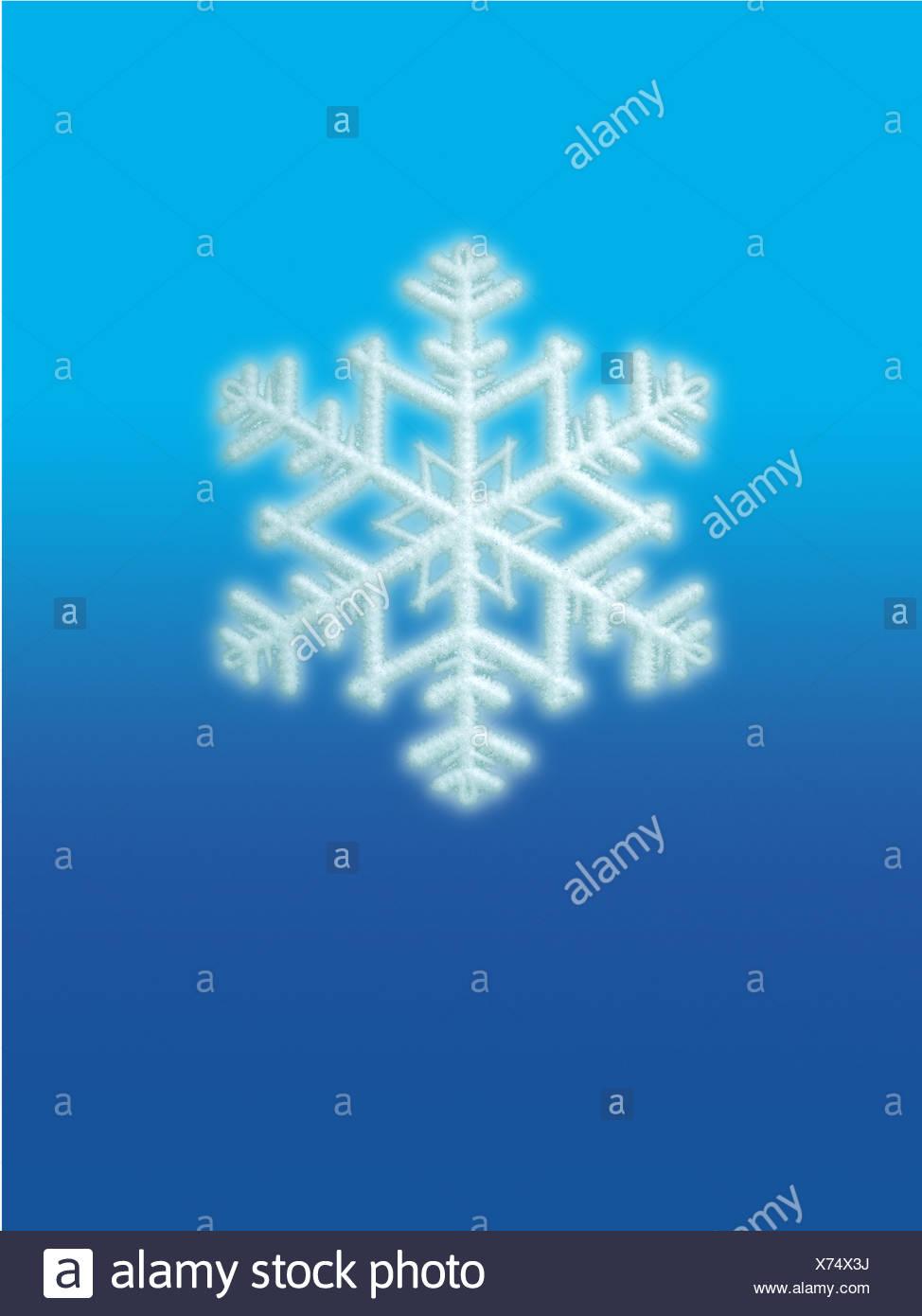 Un unico colore blu il simbolo del fiocco di neve Immagini Stock