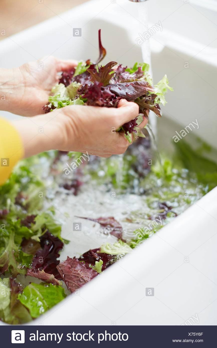 Donna vegetale di lavaggio nel lavello da cucina Immagini Stock