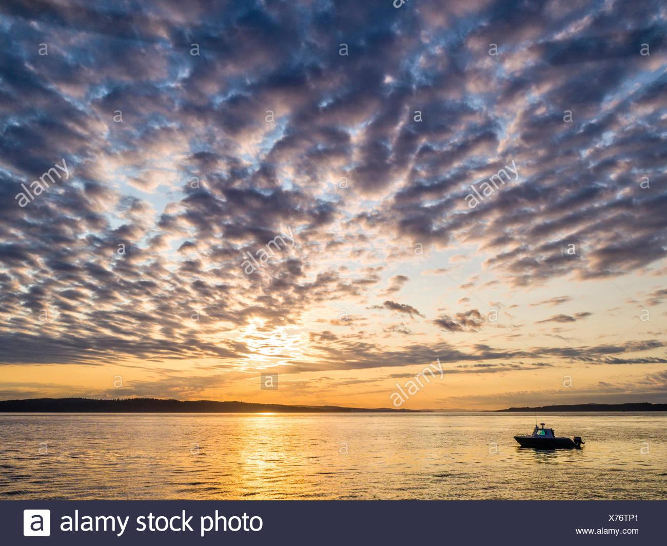 """Il 'luce ambiente """" tour in barca (Isola di Vancouver tour foto) durante il tour al tramonto nel passaggio weynton off nord isola di Vancouver, British Columbia, Canada Immagini Stock"""