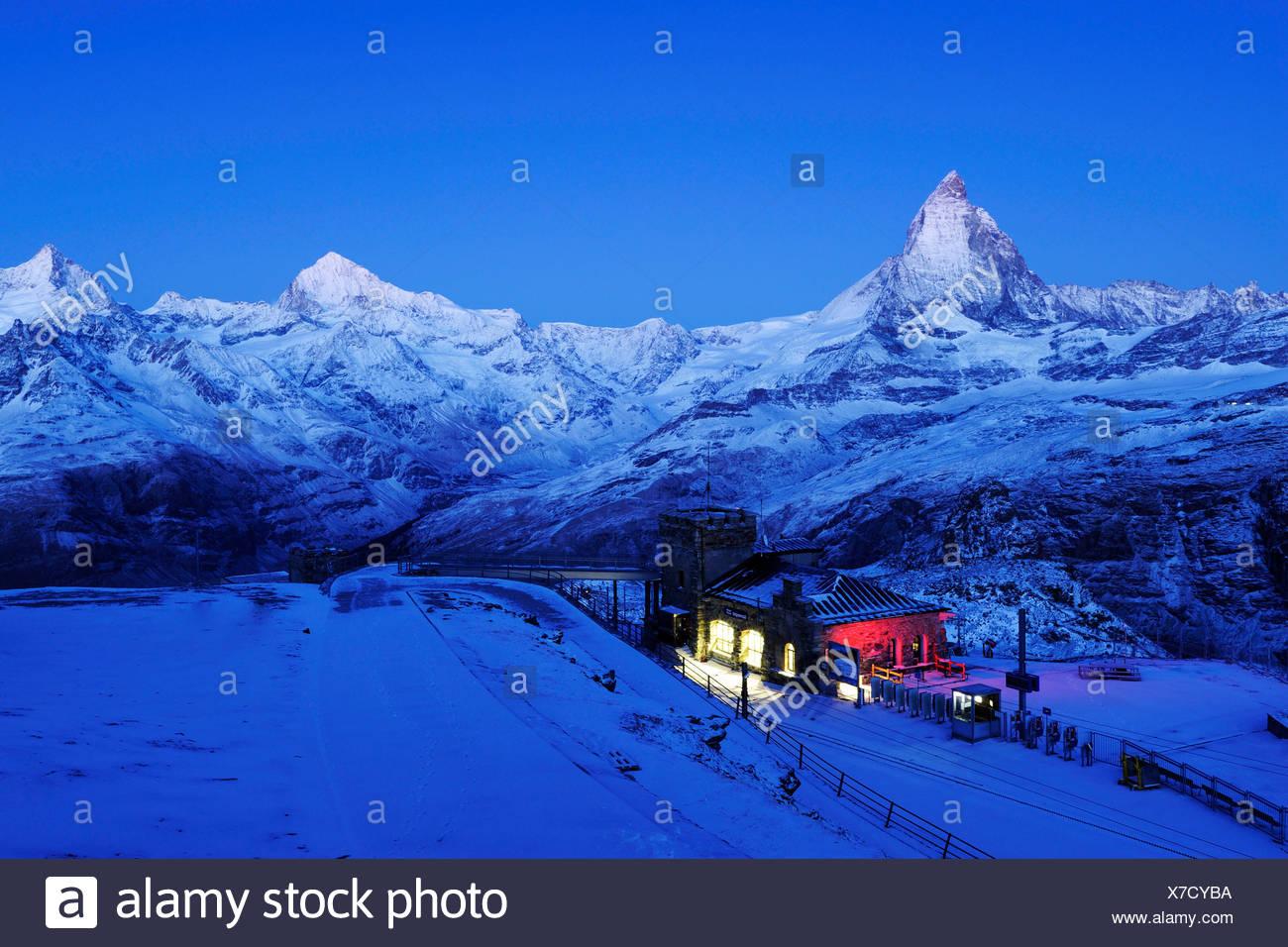 Gornergrad stazione di montagna con il Cervino, Zermatt, Vallese, Svizzera, Europa Immagini Stock
